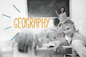 Geography against students in a classroom