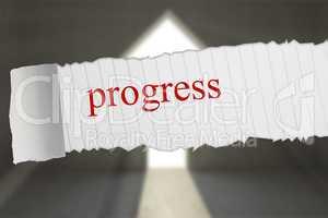 Progress against grey room with arrow door