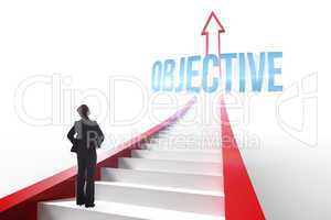 Objective against red arrow with steps graphic