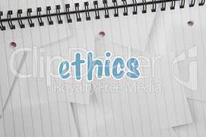 Ethics against digitally generated notepad with lined paper