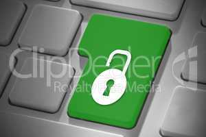 Composite image of lock on enter key
