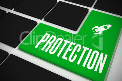 Protection on black keyboard with green key