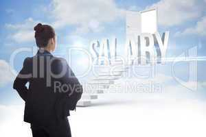 Salary against steps leading to open door in the sky