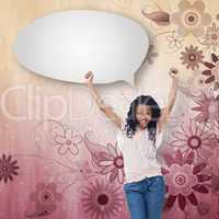 Composite image of a young happy woman with speech bubble