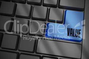 Value on black keyboard with blue key