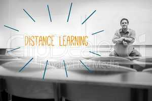 Distance learning against lecturer sitting in lecture hall