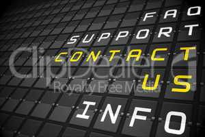 Contact us buzzwords on black mechanical board