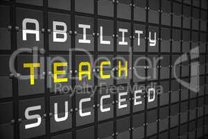 Teach buzzwords on black mechanical board