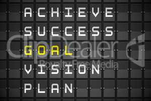 Goal buzzwords on black mechanical board