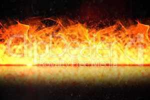 Large flames on black background