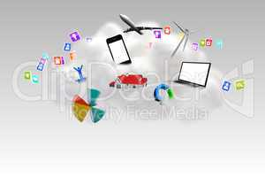 Cloud computing graphic with apps