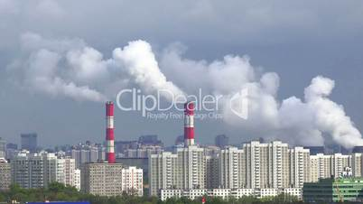 City pipes pollution, dramatic end, 4K