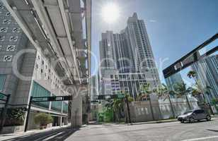 Miami streets and modern buildings