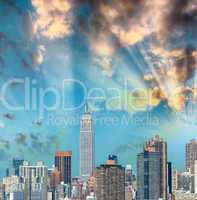 Midtown Manhattan skyline, New York City in summer season