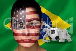 America football fan in face paint