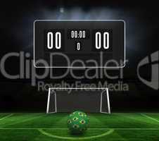 Football in brazilian colours and scoreboard