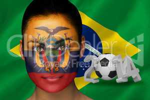 Ecuador football fan in face paint