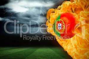 Fire surrounding portugal flag football