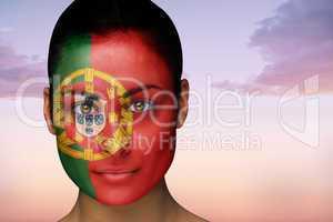 Beautiful brunette in portugal facepaint