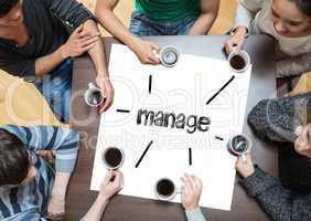 Manage on page with people sitting around table drinking coffee