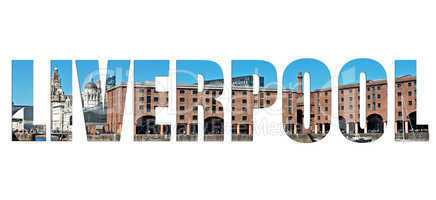 Images of Liverpool's historic waterfront inserted into text