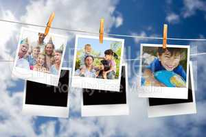 Composite image of instant photos hanging on a line