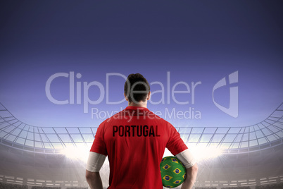 Portugal football player holding ball