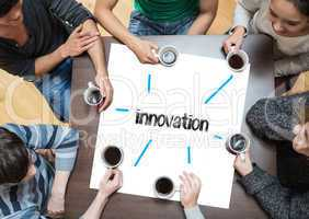 Innovation on page with people sitting around table drinking cof