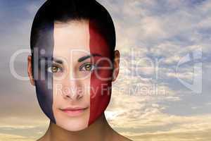 Beautiful brunette in france facepaint