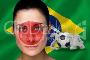 Japan football fan in face paint