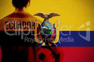 Composite image of ecuador football player holding ball