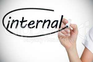 Businesswoman writing the word internal