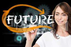 Businesswoman writing the word future