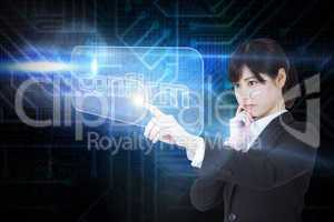 Businesswoman pointing to word confirm