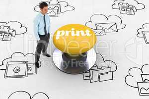 Print against yellow push button