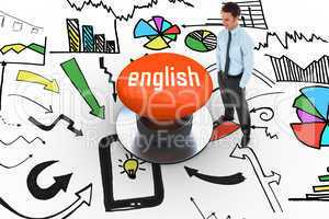 English against orange push button