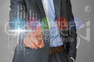 Businessman touching the words financial markets on interface