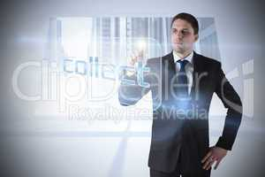 Businessman pointing to word collect