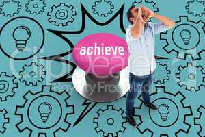 Achieve against pink push button