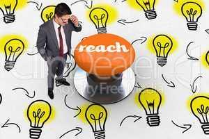 Reach against orange push button