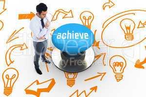 Achieve against blue push button