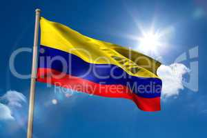 Colombia national flag on flagpole
