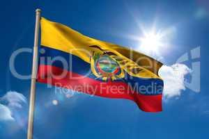 Ecuador national flag on flagpole