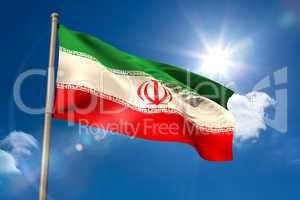 Iran national flag on flagpole
