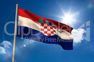Croatia national flag on flagpole