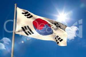 South korea national flag on flagpole