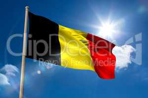 Belgium national flag on flagpole