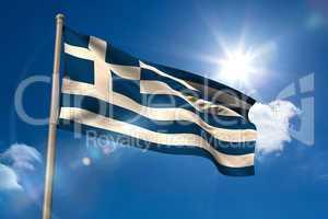 Greece national flag on flagpole