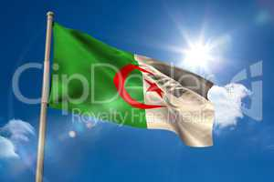 Algeria national flag on flagpole