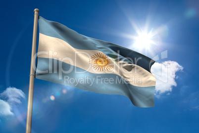 Argentina national flag on flagpole